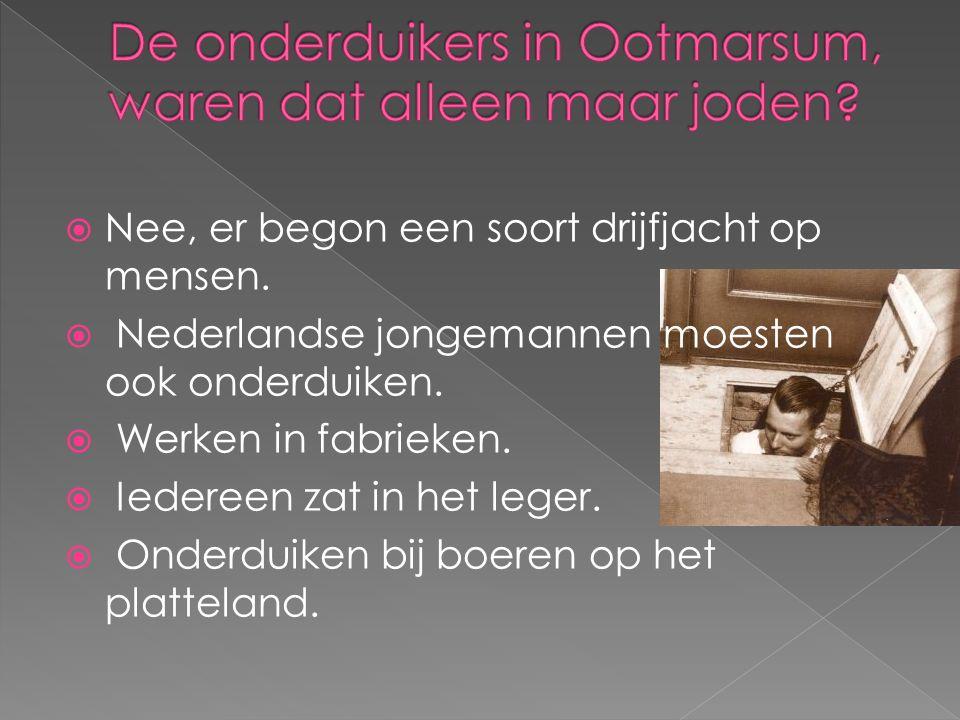  Nee, er begon een soort drijfjacht op mensen.  Nederlandse jongemannen moesten ook onderduiken.