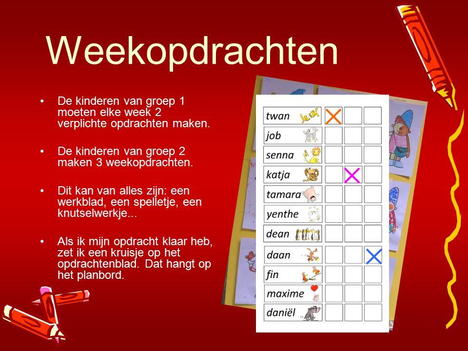 Weekopdrachten De kinderen van groep 1 moeten elke week 2 verplichte opdrachten maken. De kinderen van groep 2 maken 3 weekopdrachten. Dit kan van all