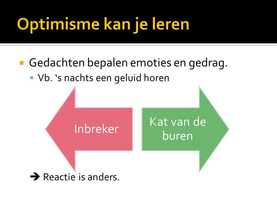  Uitgangspunt CGT: Onze gedachten bepalen hoe we ons voelen/gedragen  Veranderen van gedachten = veranderen van gevoelens en gedrag.