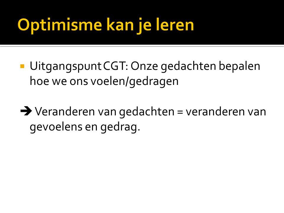 Vb.: spinnenfobie  vermijden van spinnen Doel CGT: verminderen van klachten  groter geluksgevoel is geen doel op zich  wordt wel ervaren