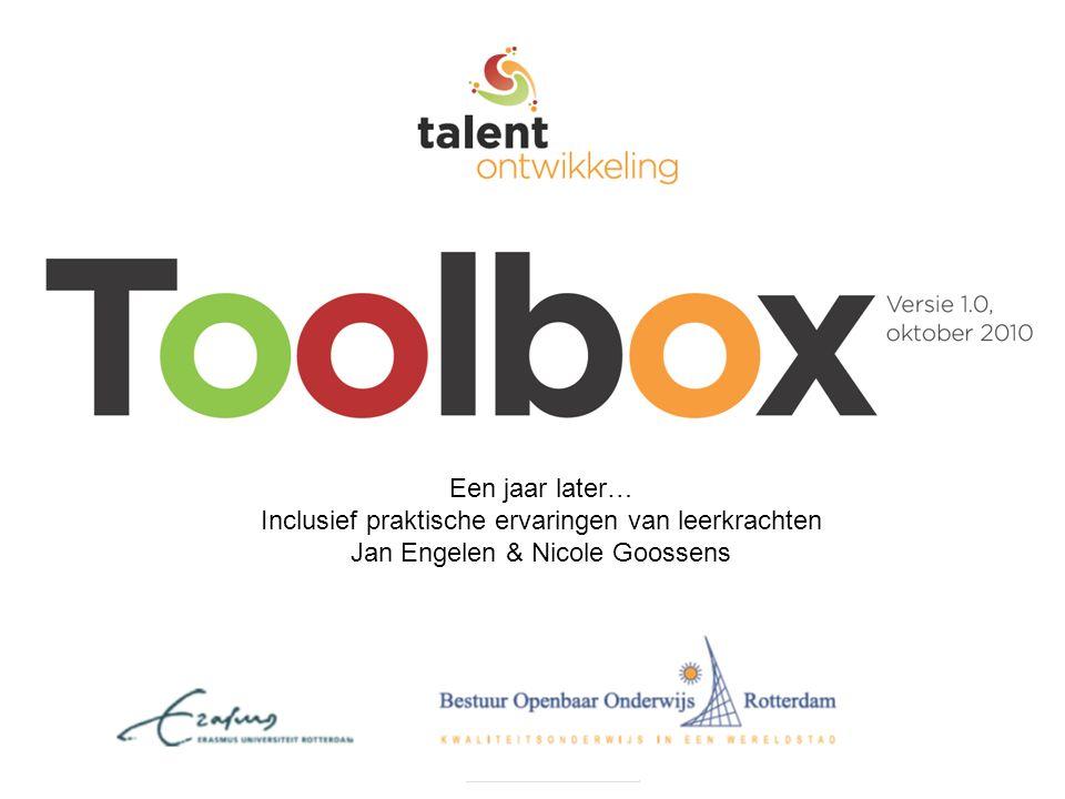 Programma Geschiedenis van de Toolbox: een introductie Tekstje lezen Strategie: Laat het tastbaar maken –Uitleg –Ervaringen Terugkomen op de gelezen tekst Strategie: Laat ze vragen stellen –Uitleg –Ervaringen Afronding