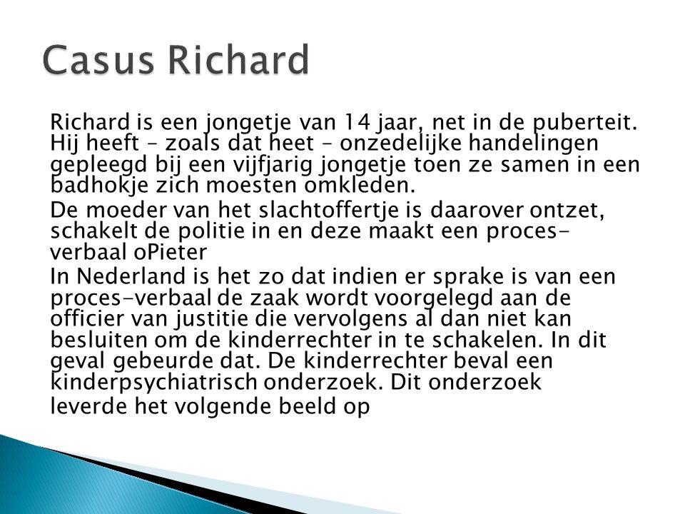 Richard heeft fikse contactproblemen, met zijn ouders, met zijn vriendjes – echte vrienden heeft hij niet – en met de psychiater die hem onderzoekt.
