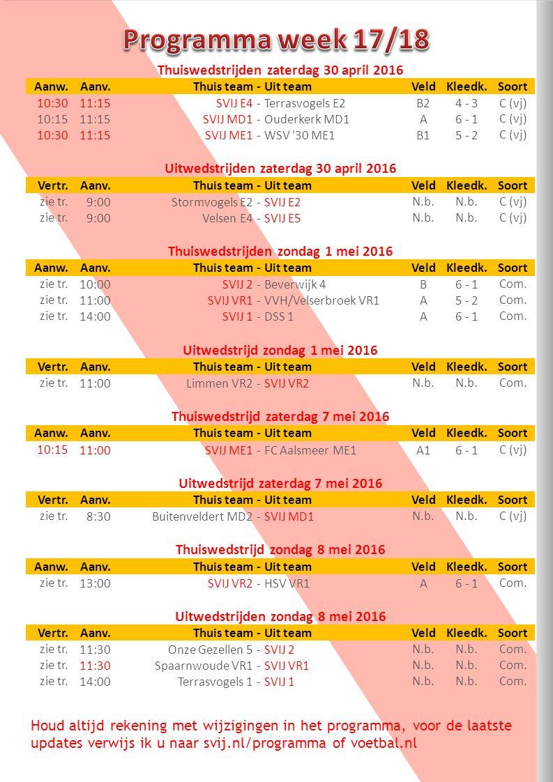 Houd altijd rekening met wijzigingen in het programma, voor de laatste updates verwijs ik u naar svij.nl/programma of voetbal.nl Thuiswedstrijden zaterdag 30 april 2016 Aanw.Aanv.Thuis team-Uit teamVeldKleedk.Soort 10:3011:15SVIJ E4-Terrasvogels E2B24 - 3C (vj) 10:1511:15SVIJ MD1-Ouderkerk MD1A6 - 1C (vj) 10:3011:15SVIJ ME1-WSV 30 ME1B15 - 2C (vj) Uitwedstrijden zaterdag 30 april 2016 Vertr.Aanv.Thuis team-Uit teamVeldKleedk.Soort zie tr.9:00Stormvogels E2-SVIJ E2N.b.