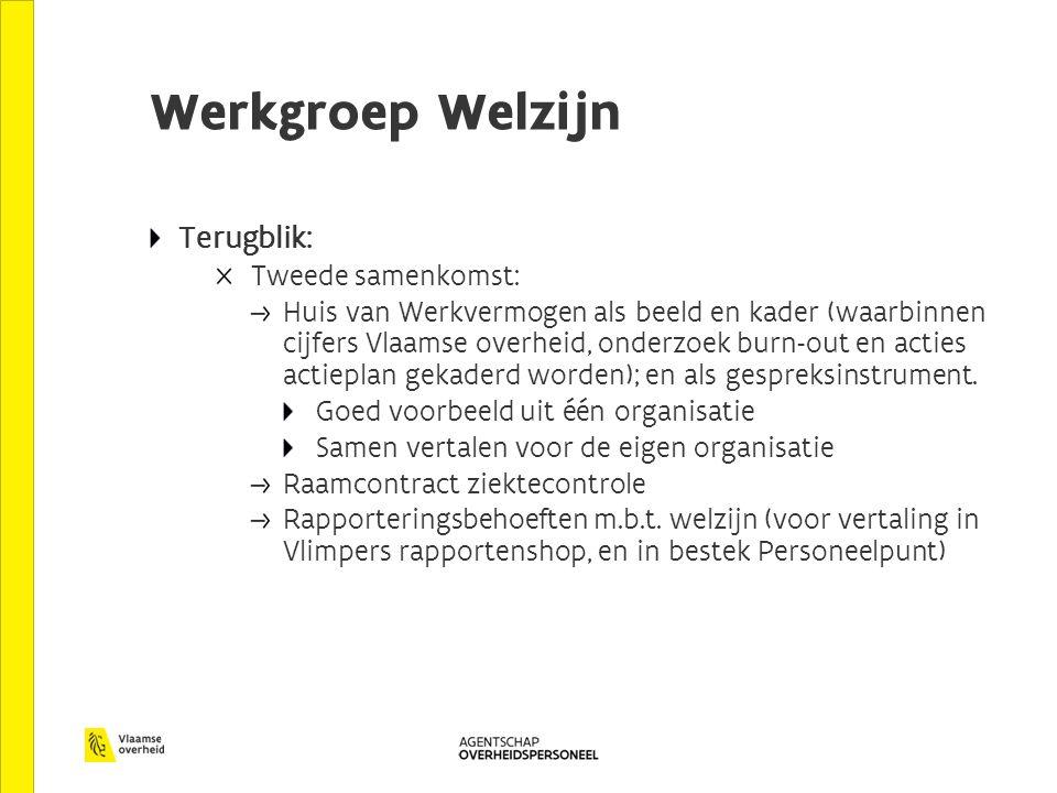 Werkgroep Welzijn Terugblik: Tweede samenkomst: Huis van Werkvermogen als beeld en kader (waarbinnen cijfers Vlaamse overheid, onderzoek burn-out en acties actieplan gekaderd worden); en als gespreksinstrument.