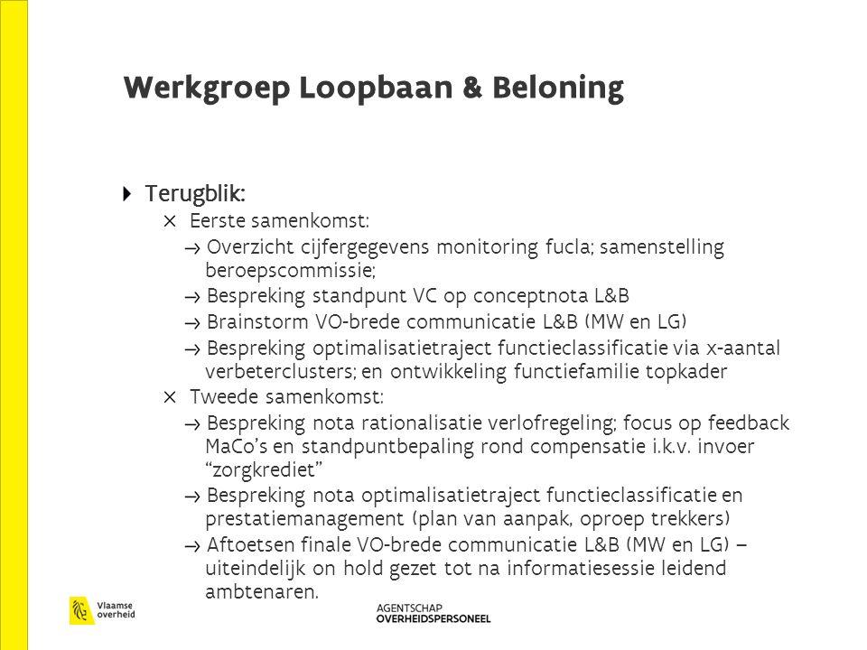 Werkgroep Loopbaan & Beloning Terugblik: Eerste samenkomst: Overzicht cijfergegevens monitoring fucla; samenstelling beroepscommissie; Bespreking standpunt VC op conceptnota L&B Brainstorm VO-brede communicatie L&B (MW en LG) Bespreking optimalisatietraject functieclassificatie via x-aantal verbeterclusters; en ontwikkeling functiefamilie topkader Tweede samenkomst: Bespreking nota rationalisatie verlofregeling; focus op feedback MaCo's en standpuntbepaling rond compensatie i.k.v.
