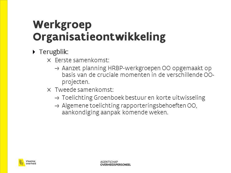 Werkgroep Organisatieontwikkeling Terugblik: Eerste samenkomst: Aanzet planning HRBP-werkgroepen OO opgemaakt op basis van de cruciale momenten in de verschillende OO- projecten.