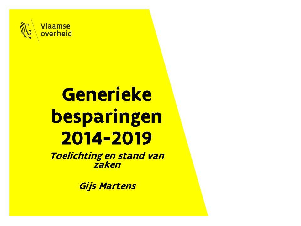 Generieke besparingen 2014-2019 Toelichting en stand van zaken Gijs Martens