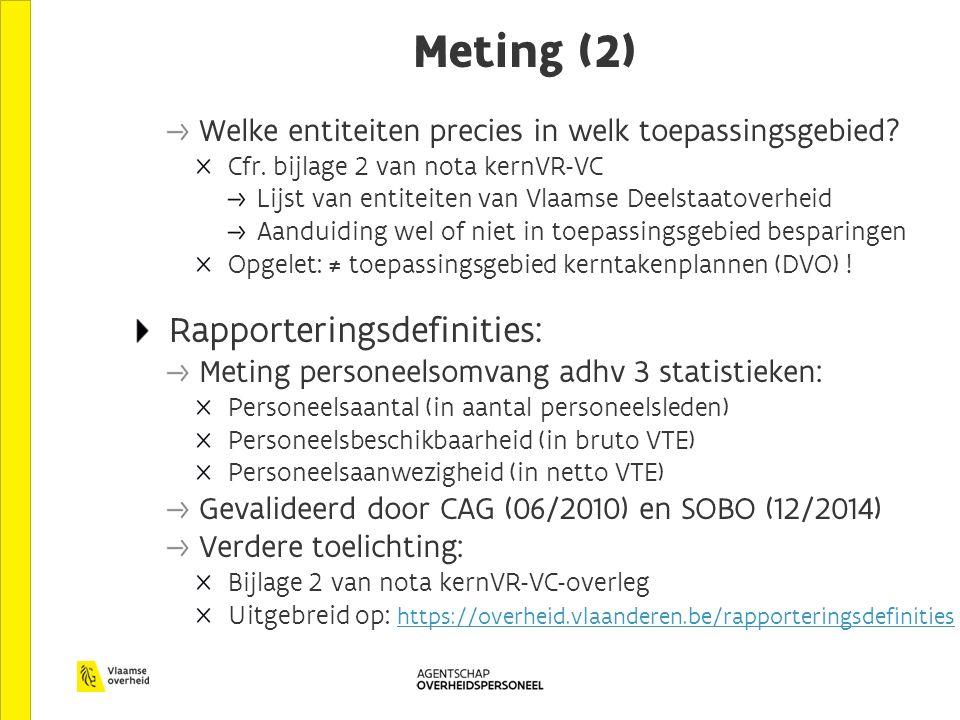Meting (2) Welke entiteiten precies in welk toepassingsgebied.