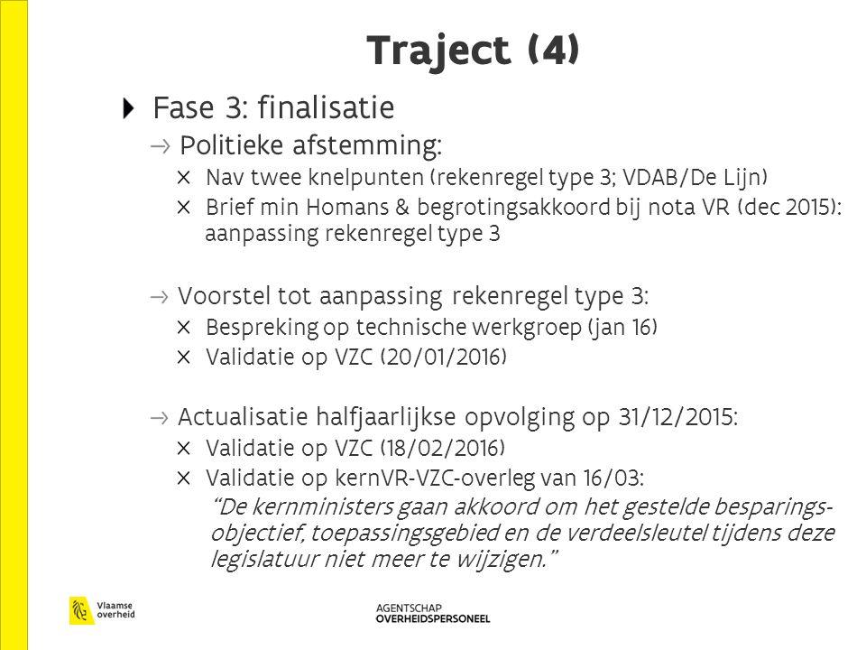 Traject (4) Fase 3: finalisatie Politieke afstemming: Nav twee knelpunten (rekenregel type 3; VDAB/De Lijn) Brief min Homans & begrotingsakkoord bij nota VR (dec 2015): aanpassing rekenregel type 3 Voorstel tot aanpassing rekenregel type 3: Bespreking op technische werkgroep (jan 16) Validatie op VZC (20/01/2016) Actualisatie halfjaarlijkse opvolging op 31/12/2015: Validatie op VZC (18/02/2016) Validatie op kernVR-VZC-overleg van 16/03: De kernministers gaan akkoord om het gestelde besparings- objectief, toepassingsgebied en de verdeelsleutel tijdens deze legislatuur niet meer te wijzigen.