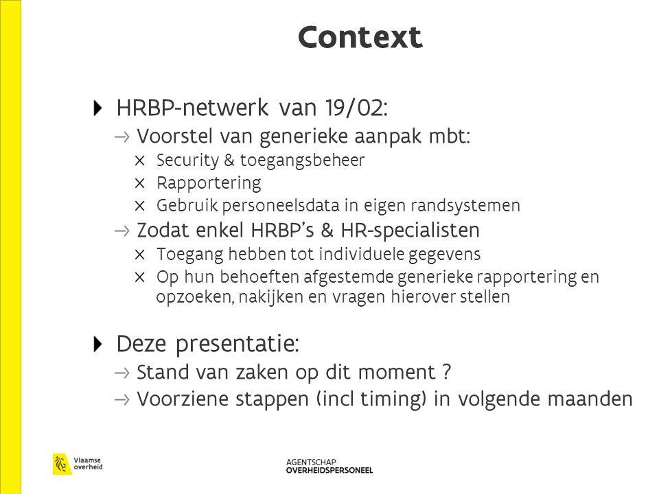 Context HRBP-netwerk van 19/02: Voorstel van generieke aanpak mbt: Security & toegangsbeheer Rapportering Gebruik personeelsdata in eigen randsystemen Zodat enkel HRBP's & HR-specialisten Toegang hebben tot individuele gegevens Op hun behoeften afgestemde generieke rapportering en opzoeken, nakijken en vragen hierover stellen Deze presentatie: Stand van zaken op dit moment .
