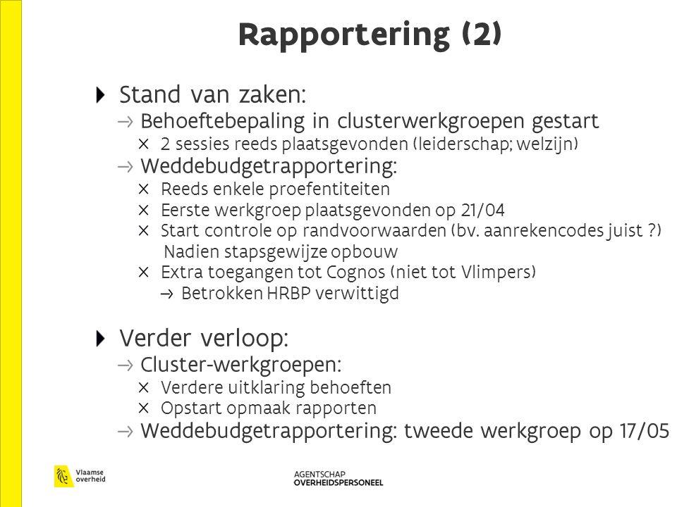 Rapportering (2) Stand van zaken: Behoeftebepaling in clusterwerkgroepen gestart 2 sessies reeds plaatsgevonden (leiderschap; welzijn) Weddebudgetrapportering: Reeds enkele proefentiteiten Eerste werkgroep plaatsgevonden op 21/04 Start controle op randvoorwaarden (bv.