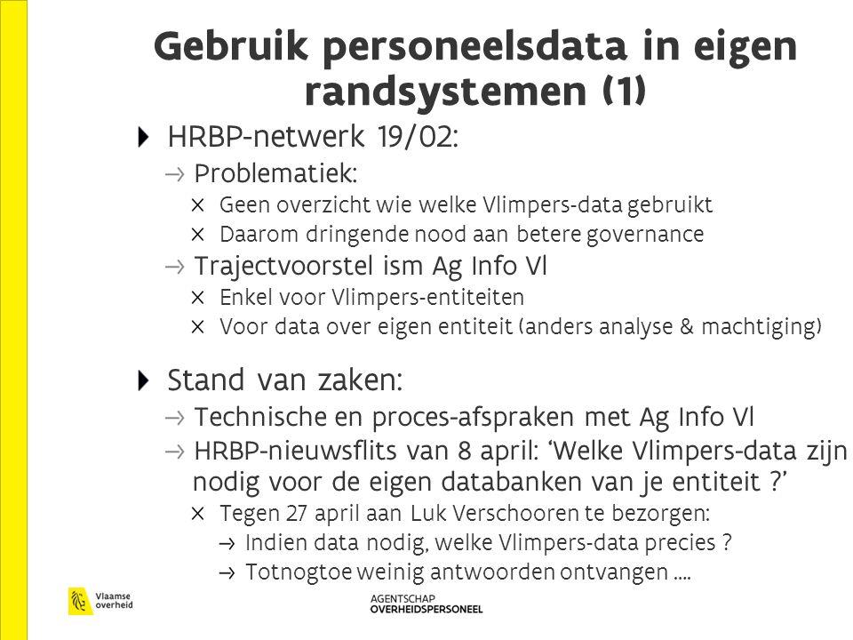 Gebruik personeelsdata in eigen randsystemen (1) HRBP-netwerk 19/02: Problematiek: Geen overzicht wie welke Vlimpers-data gebruikt Daarom dringende nood aan betere governance Trajectvoorstel ism Ag Info Vl Enkel voor Vlimpers-entiteiten Voor data over eigen entiteit (anders analyse & machtiging) Stand van zaken: Technische en proces-afspraken met Ag Info Vl HRBP-nieuwsflits van 8 april: 'Welke Vlimpers-data zijn nodig voor de eigen databanken van je entiteit ?' Tegen 27 april aan Luk Verschooren te bezorgen: Indien data nodig, welke Vlimpers-data precies .