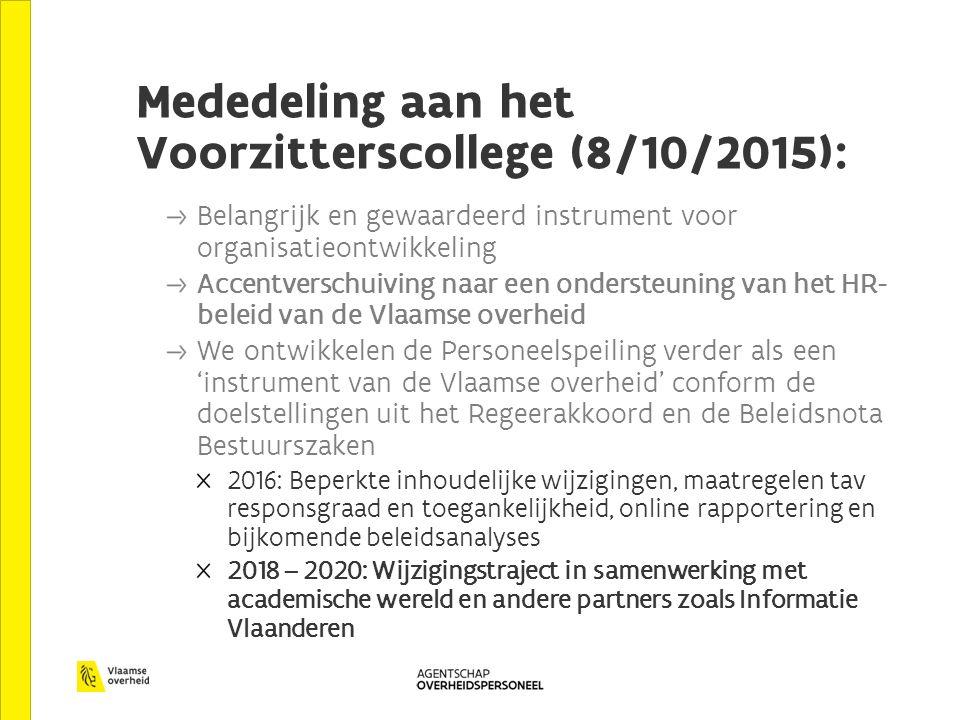 Mededeling aan het Voorzitterscollege (8/10/2015): Belangrijk en gewaardeerd instrument voor organisatieontwikkeling Accentverschuiving naar een ondersteuning van het HR- beleid van de Vlaamse overheid We ontwikkelen de Personeelspeiling verder als een 'instrument van de Vlaamse overheid' conform de doelstellingen uit het Regeerakkoord en de Beleidsnota Bestuurszaken 2016: Beperkte inhoudelijke wijzigingen, maatregelen tav responsgraad en toegankelijkheid, online rapportering en bijkomende beleidsanalyses 2018 – 2020: Wijzigingstraject in samenwerking met academische wereld en andere partners zoals Informatie Vlaanderen
