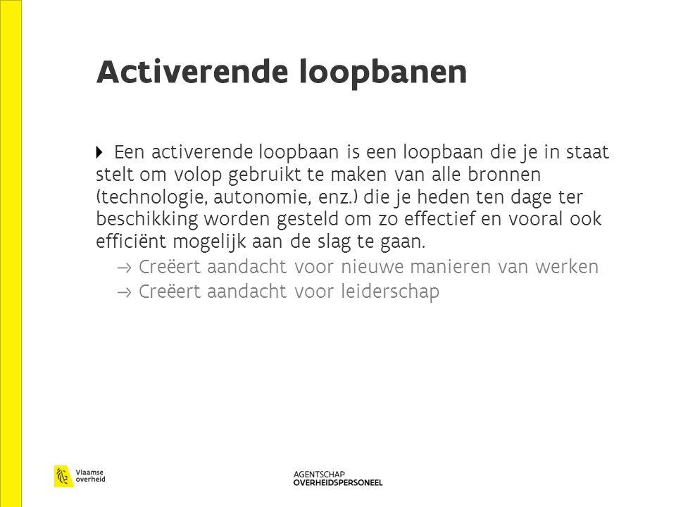 Activerende loopbanen Een activerende loopbaan is een loopbaan die je in staat stelt om volop gebruikt te maken van alle bronnen (technologie, autonomie, enz.) die je heden ten dage ter beschikking worden gesteld om zo effectief en vooral ook efficiënt mogelijk aan de slag te gaan.