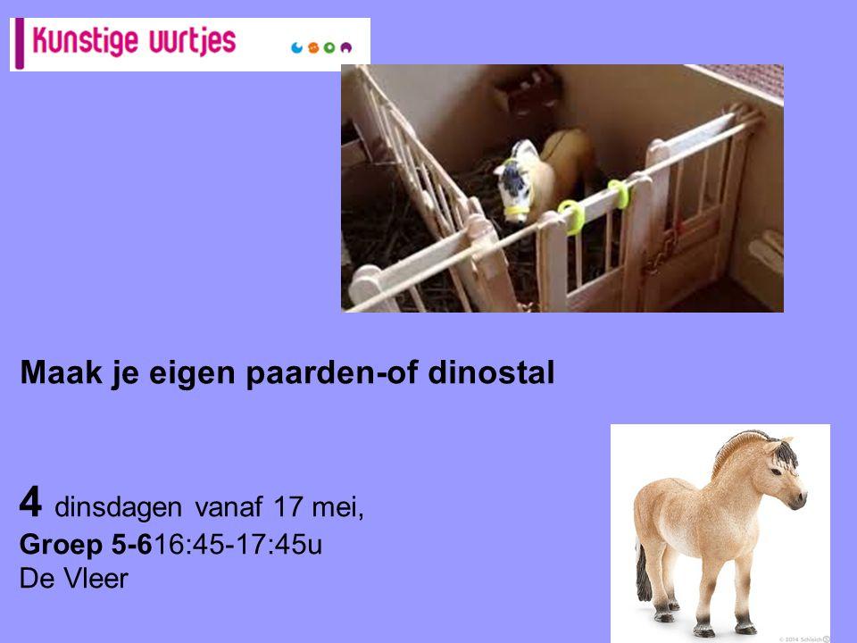 4 dinsdagen vanaf 17 mei, Groep 5-616:45-17:45u De Vleer Maak je eigen paarden-of dinostal