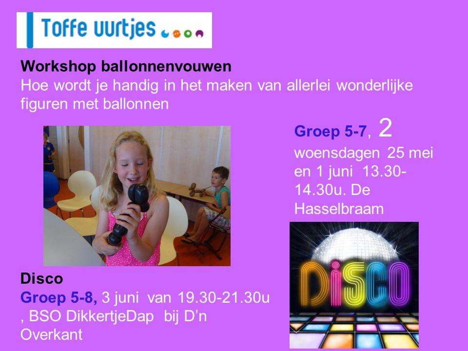 Groep 5-7, 2 woensdagen 25 mei en 1 juni 13.30- 14.30u.