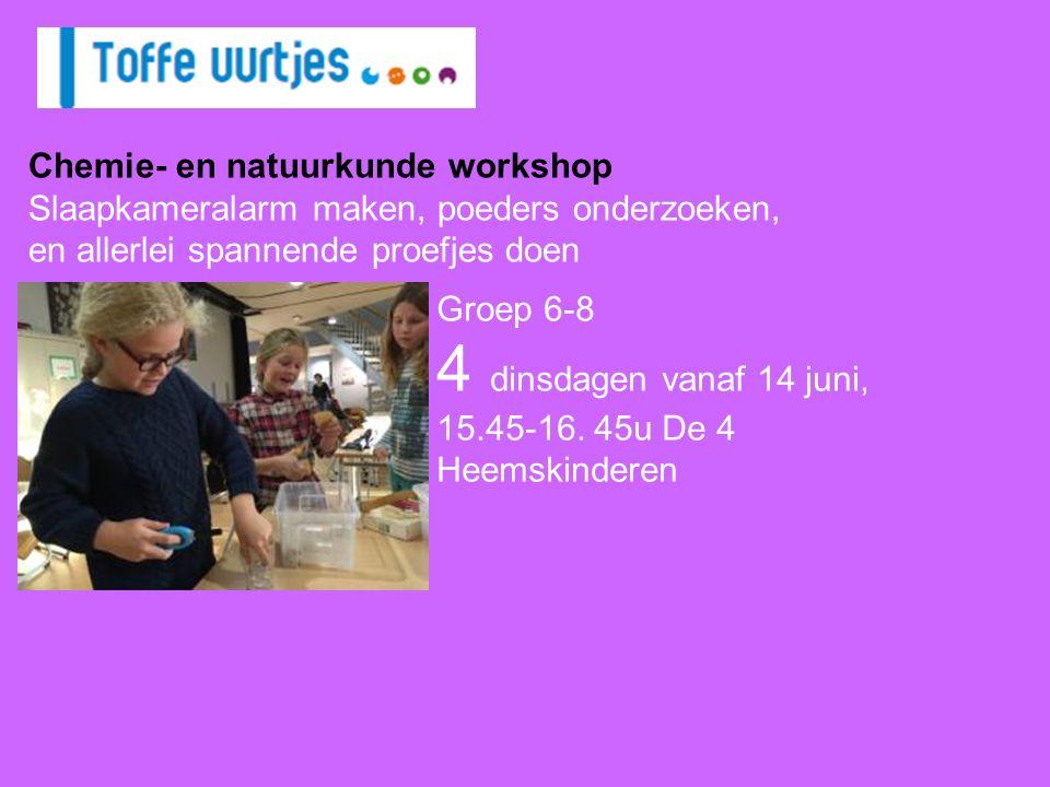 Groep 6-8 4 dinsdagen vanaf 14 juni, 15.45-16. 45u De 4 Heemskinderen Chemie- en natuurkunde workshop Slaapkameralarm maken, poeders onderzoeken, en a
