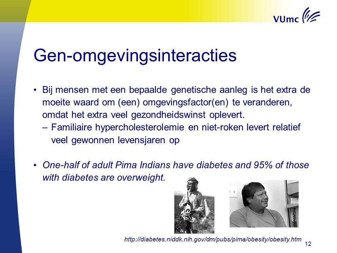 Gen-omgevingsinteracties Bij mensen met een bepaalde genetische aanleg is het extra de moeite waard om (een) omgevingsfactor(en) te veranderen, omdat het extra veel gezondheidswinst oplevert.
