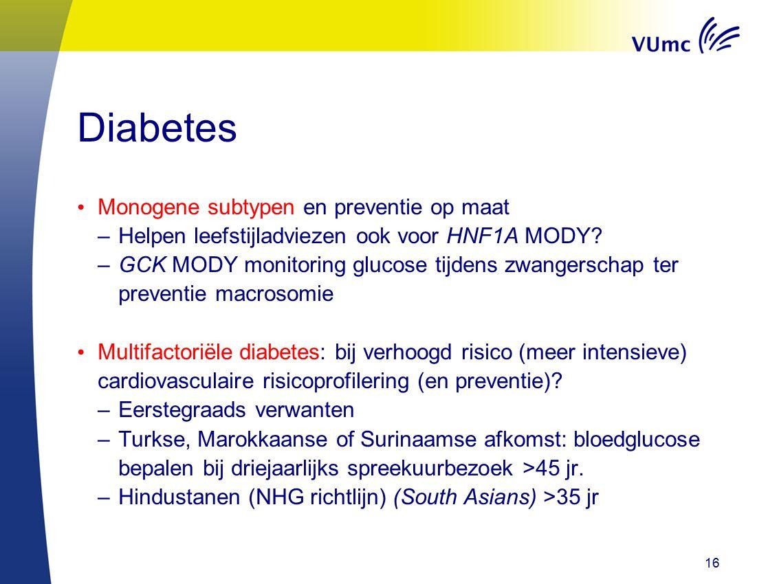 Diabetes Monogene subtypen en preventie op maat –Helpen leefstijladviezen ook voor HNF1A MODY.