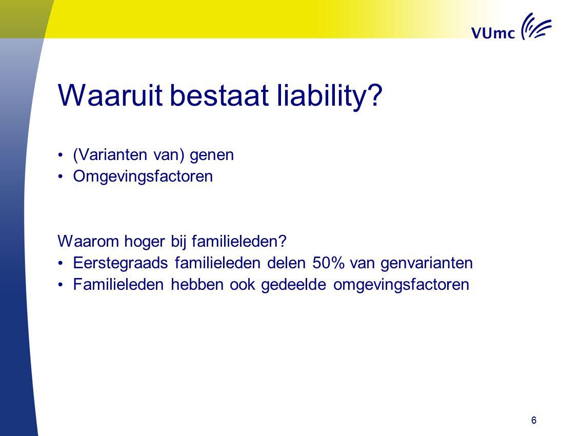 Waaruit bestaat liability. (Varianten van) genen Omgevingsfactoren Waarom hoger bij familieleden.