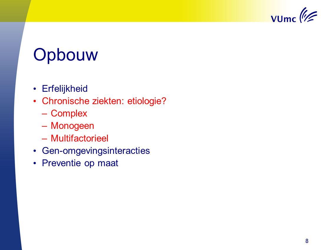 8 Opbouw Erfelijkheid Chronische ziekten: etiologie.