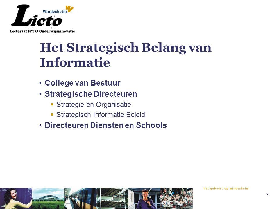 3 Het Strategisch Belang van Informatie College van Bestuur Strategische Directeuren  Strategie en Organisatie  Strategisch Informatie Beleid Directeuren Diensten en Schools