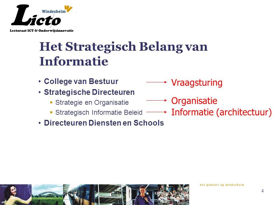 4 Het Strategisch Belang van Informatie College van Bestuur Strategische Directeuren  Strategie en Organisatie  Strategisch Informatie Beleid Directeuren Diensten en Schools Informatie (architectuur) Vraagsturing Organisatie