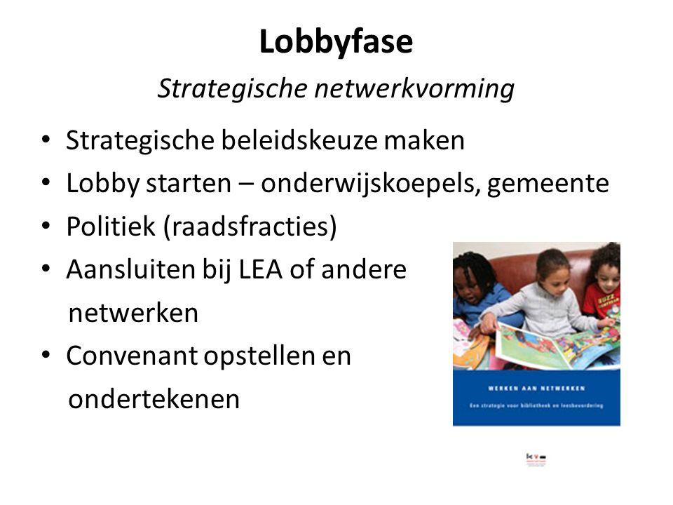 Lobbyfase Strategische netwerkvorming Strategische beleidskeuze maken Lobby starten – onderwijskoepels, gemeente Politiek (raadsfracties) Aansluiten bij LEA of andere netwerken Convenant opstellen en ondertekenen