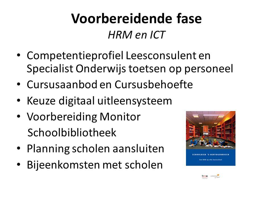 Voorbereidende fase HRM en ICT Competentieprofiel Leesconsulent en Specialist Onderwijs toetsen op personeel Cursusaanbod en Cursusbehoefte Keuze digi