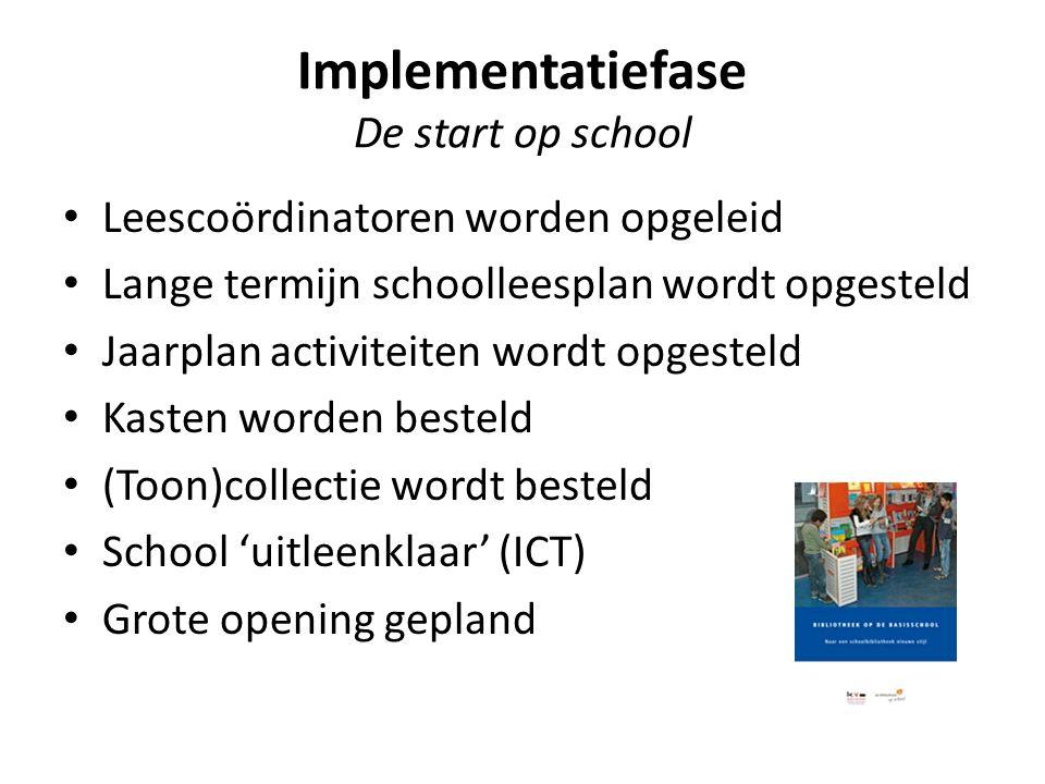 Implementatiefase De start op school Leescoördinatoren worden opgeleid Lange termijn schoolleesplan wordt opgesteld Jaarplan activiteiten wordt opgest
