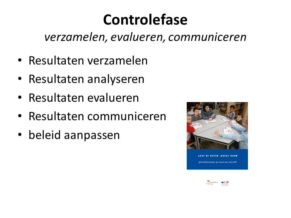 Controlefase verzamelen, evalueren, communiceren Resultaten verzamelen Resultaten analyseren Resultaten evalueren Resultaten communiceren beleid aanpa