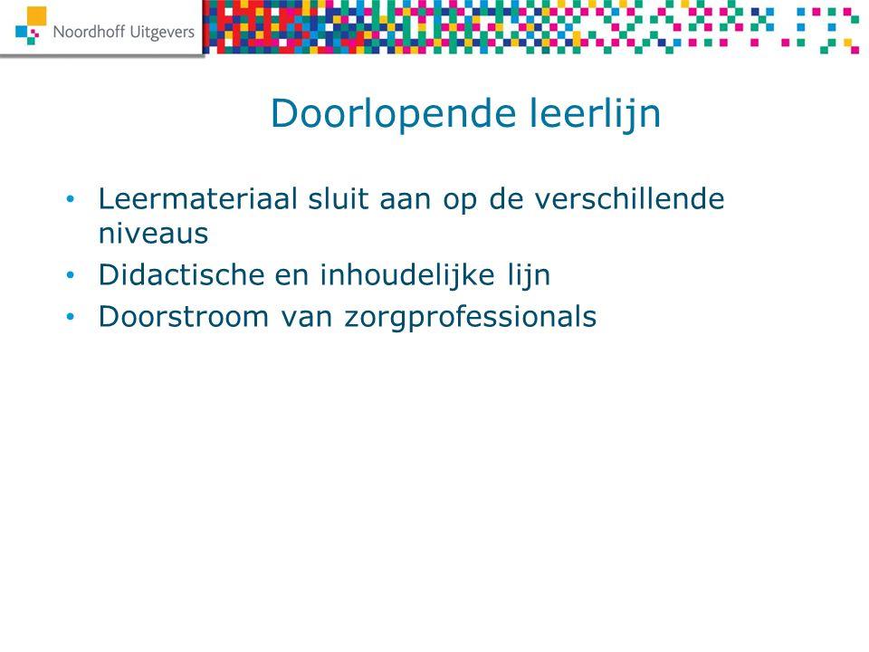 Doorlopende leerlijn Leermateriaal sluit aan op de verschillende niveaus Didactische en inhoudelijke lijn Doorstroom van zorgprofessionals