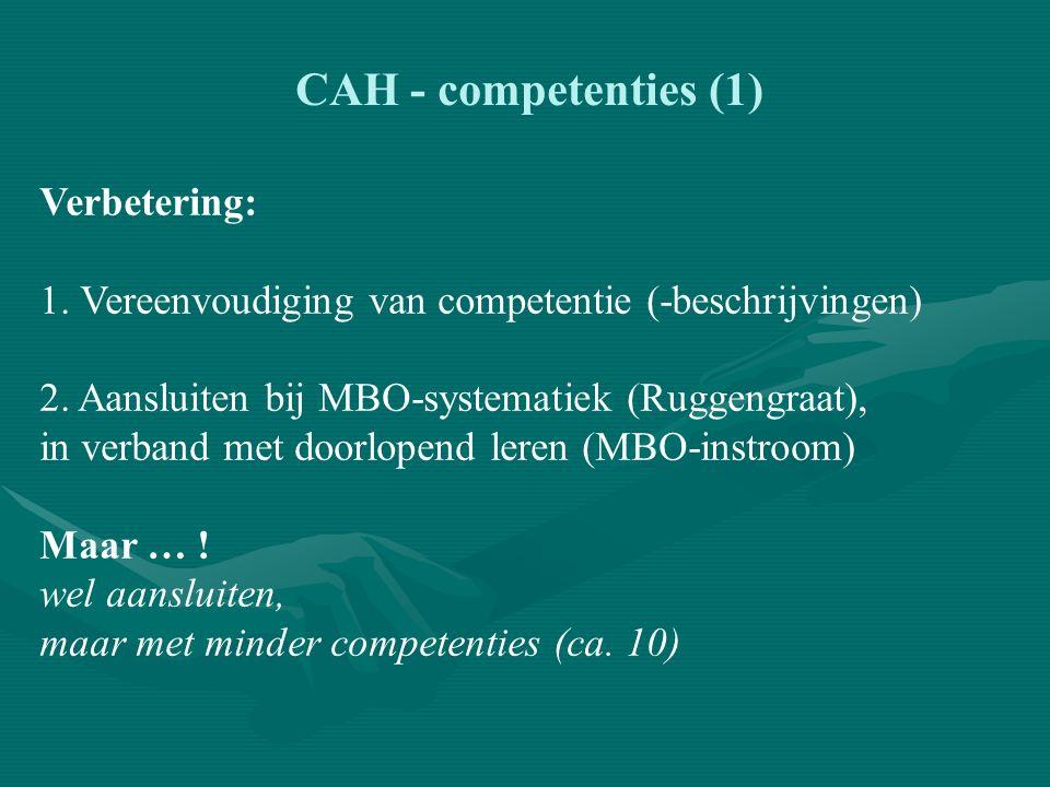 CAH - competenties (1) Verbetering: 1. Vereenvoudiging van competentie (-beschrijvingen) 2.