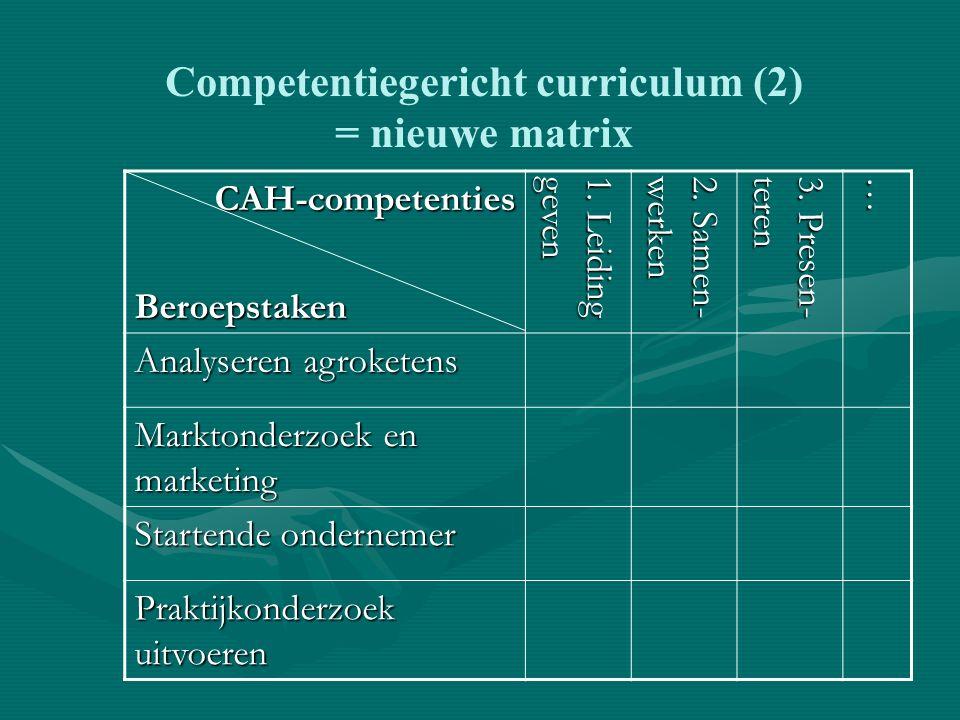 Competentiegericht curriculum (2) = nieuwe matrix CAH-competentiesBeroepstaken 1.