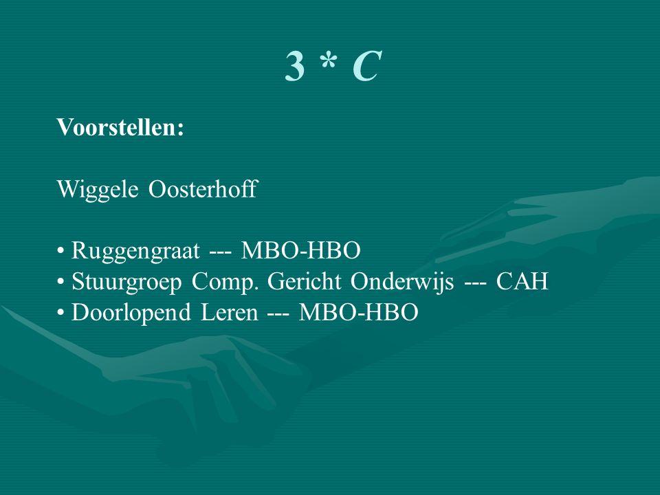 3 * C Voorstellen: Wiggele Oosterhoff Ruggengraat --- MBO-HBO Stuurgroep Comp.