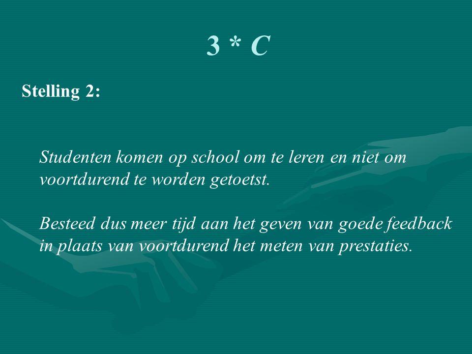 3 * C Stelling 2: Studenten komen op school om te leren en niet om voortdurend te worden getoetst.