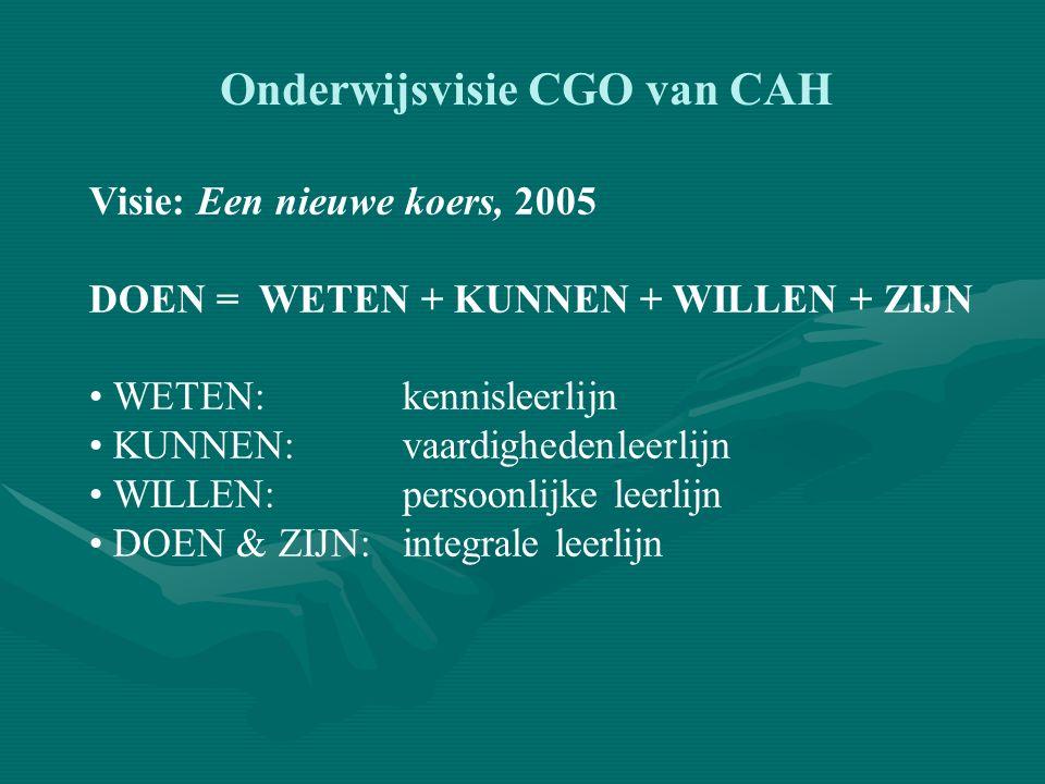 Onderwijsvisie CGO van CAH Visie: Een nieuwe koers, 2005 Inhoud: Toetsvisie Rol van de student Curriculum Taak van de docent Faciliteiten