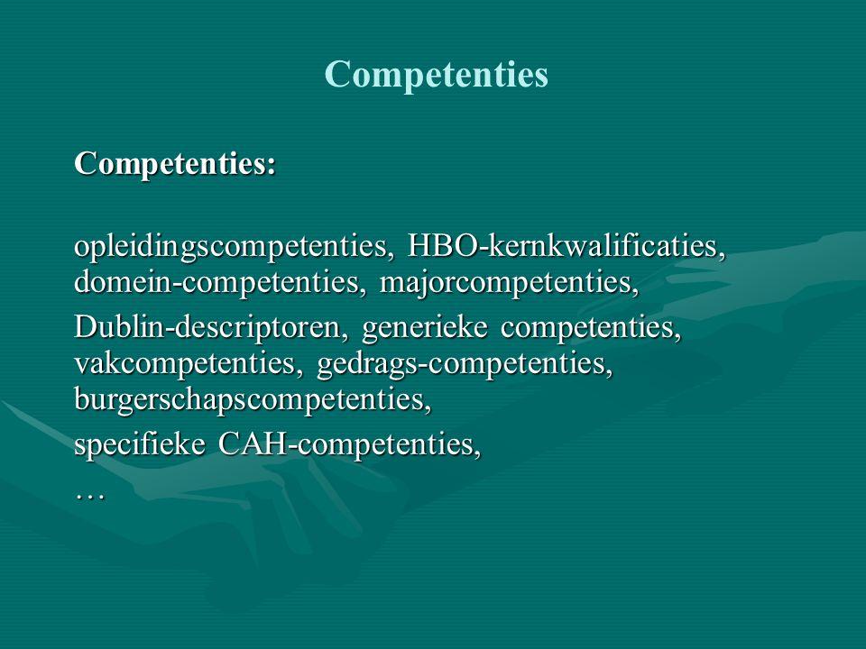 Nieuwe actiepunten (1) 1.Dezelfde set competenties voor doorlopend leren – BSc-MSc.