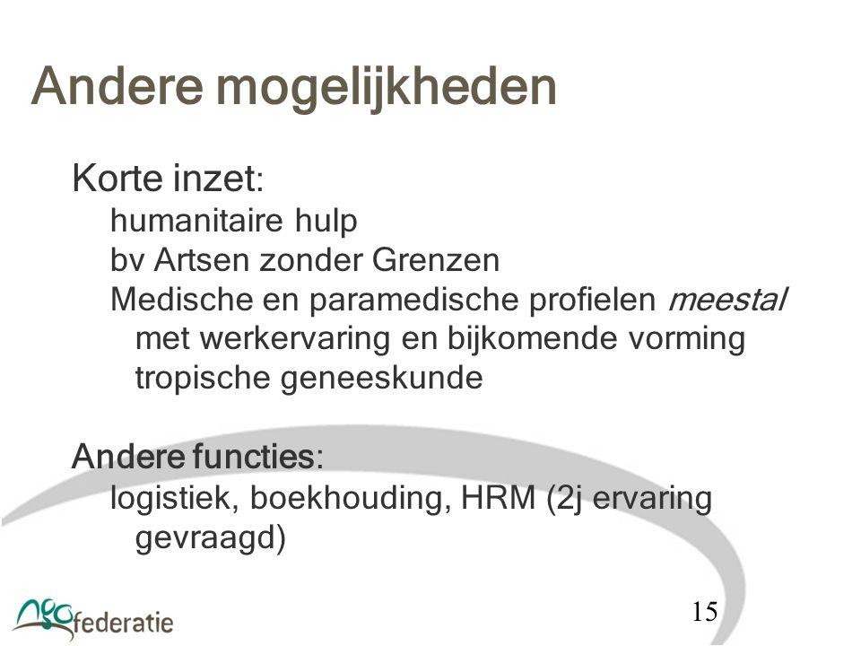 Andere mogelijkheden Korte inzet : humanitaire hulp bv Artsen zonder Grenzen Medische en paramedische profielen meestal met werkervaring en bijkomende
