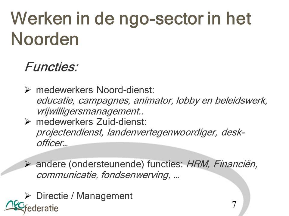 Werken in de ngo-sector in het Noorden Functies:  medewerkers Noord-dienst: educatie, campagnes, animator, lobby en beleidswerk, vrijwilligersmanagem