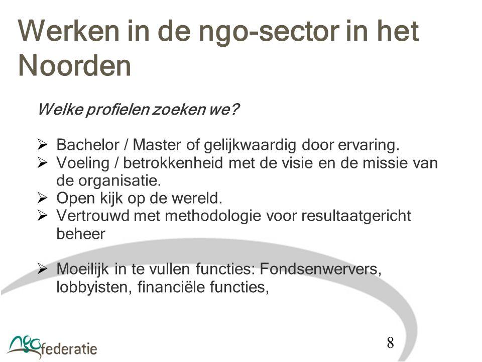 Werken in de ngo-sector in het Noorden Welke profielen zoeken we?  Bachelor / Master of gelijkwaardig door ervaring.  Voeling / betrokkenheid met de