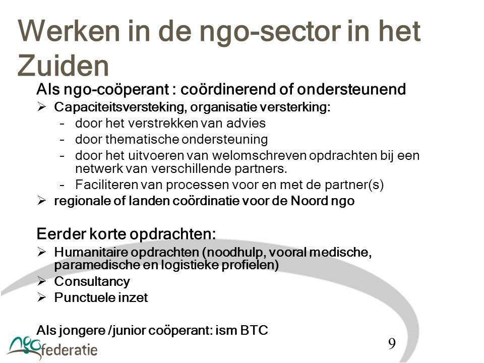 Als ngo-coöperant : coördinerend of ondersteunend  Capaciteitsversteking, organisatie versterking: –door het verstrekken van advies –door thematische