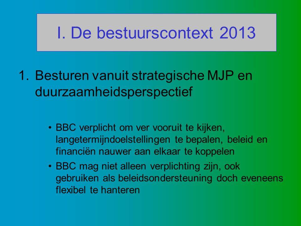 I. De bestuurscontext 2013 1.Besturen vanuit strategische MJP en duurzaamheidsperspectief BBC verplicht om ver vooruit te kijken, langetermijndoelstel