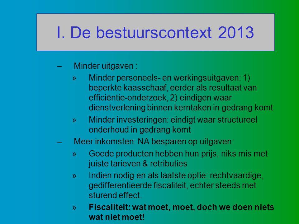 I. De bestuurscontext 2013 –Minder uitgaven : »Minder personeels- en werkingsuitgaven: 1) beperkte kaasschaaf, eerder als resultaat van efficiëntie-on