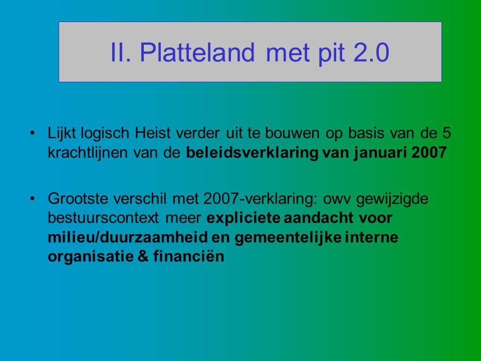 II. Platteland met pit 2.0 Lijkt logisch Heist verder uit te bouwen op basis van de 5 krachtlijnen van de beleidsverklaring van januari 2007 Grootste