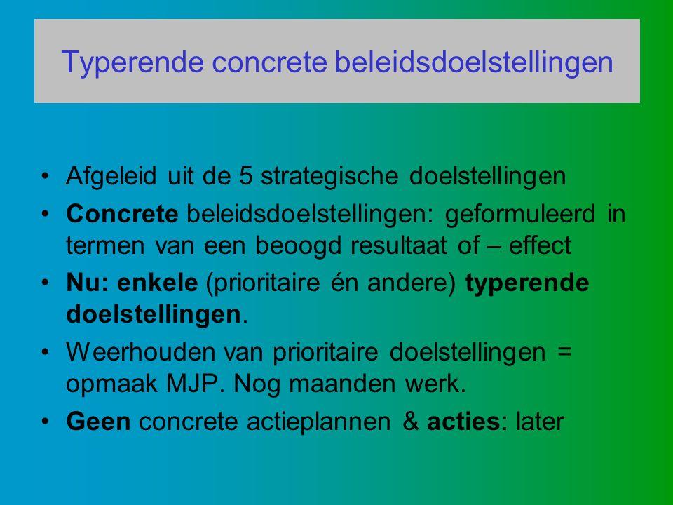 Typerende concrete beleidsdoelstellingen Afgeleid uit de 5 strategische doelstellingen Concrete beleidsdoelstellingen: geformuleerd in termen van een beoogd resultaat of – effect Nu: enkele (prioritaire én andere) typerende doelstellingen.