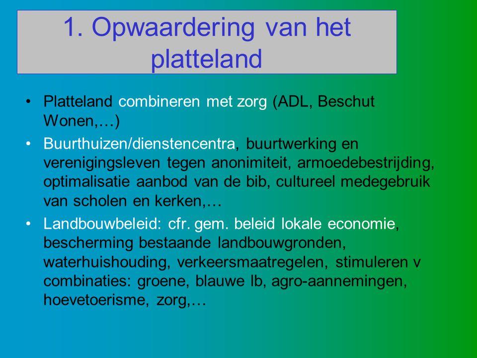 1. Opwaardering van het platteland Platteland combineren met zorg (ADL, Beschut Wonen,…) Buurthuizen/dienstencentra, buurtwerking en verenigingsleven