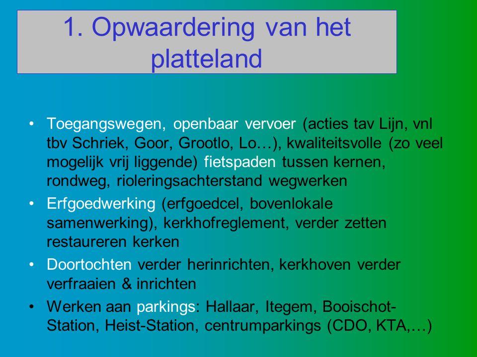 1. Opwaardering van het platteland Toegangswegen, openbaar vervoer (acties tav Lijn, vnl tbv Schriek, Goor, Grootlo, Lo…), kwaliteitsvolle (zo veel mo