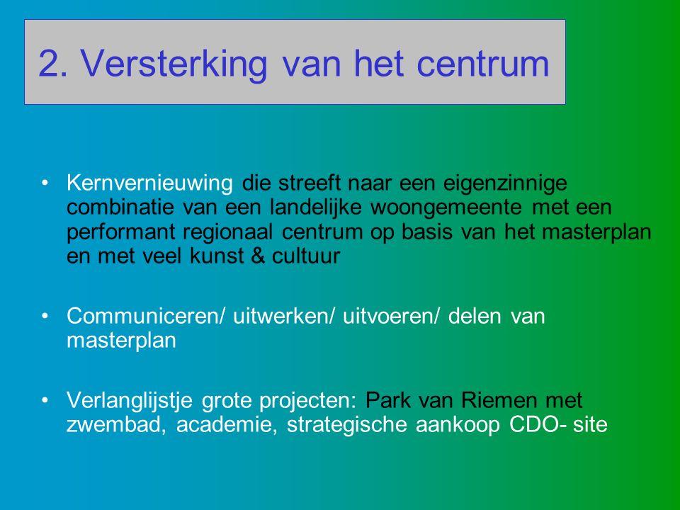 2. Versterking van het centrum Kernvernieuwing die streeft naar een eigenzinnige combinatie van een landelijke woongemeente met een performant regiona