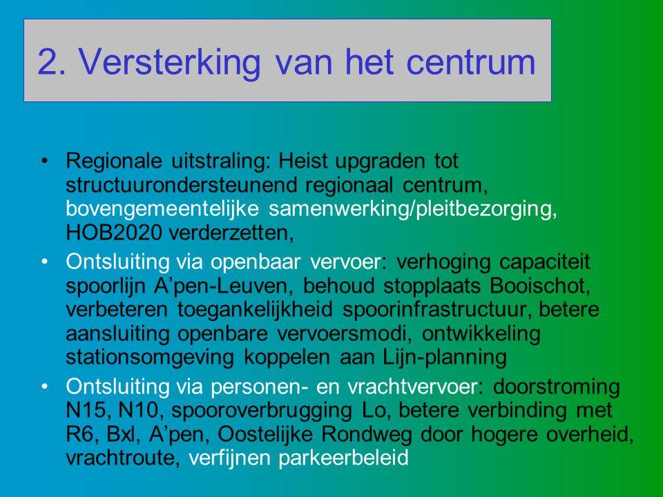 2. Versterking van het centrum Regionale uitstraling: Heist upgraden tot structuurondersteunend regionaal centrum, bovengemeentelijke samenwerking/ple